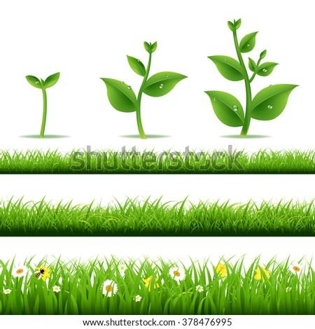 Big Grass Set With Plants  - stock photo