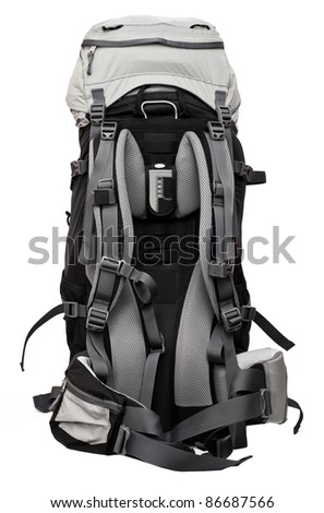 Big gray-black backpack isolated on white background