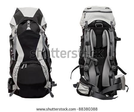 Big gray-black woman's backpack isolated on white background - front and back set - stock photo