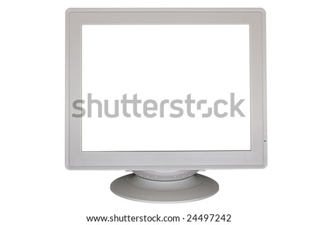 Big gray CRT monitor with empty screen isolated on white