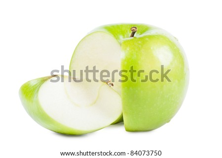 Big green apple with sliced part isolated over white background - stock photo