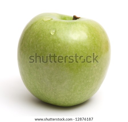 Big green juicy apple over white background