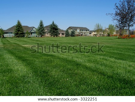 Big green lawn in-front of a new residential houses in suburban neighborhood