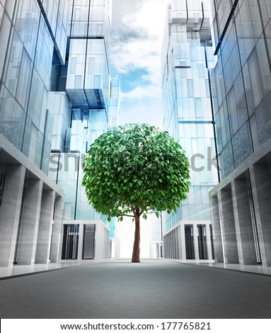 big green leafy tree in new modern business city street illustration - stock photo