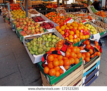 Big green market with fresh organic fruits and vegetables