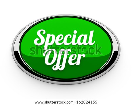 Big green special offer button with metallic border - stock photo