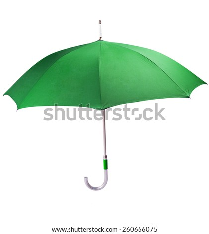 Big green umbrella on a white background