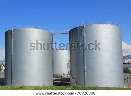 Big grey oil tanks at Vernier, Geneva, Switzerland