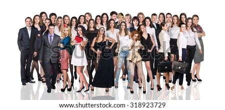 Big group of business people. Isolated over white background - stock photo