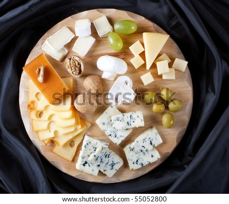 big group of cheeses - stock photo