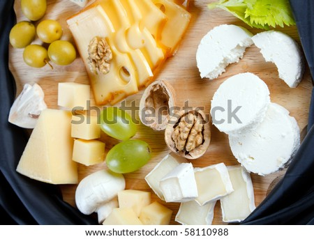 big group of cheeses
