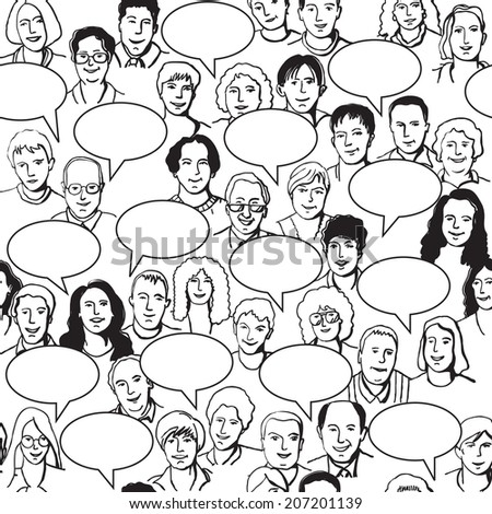 Big group of unrecognizable people with bubbles. Black lines illustration. Seamless pattern. - stock photo