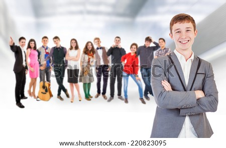 Big group of young people - stock photo