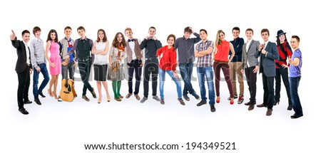 Big group positive young people on white background - stock photo