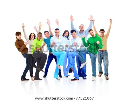 big group young people - stock photo
