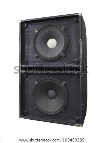Big grungy bass blaster speaker box isolated on white - stock photo