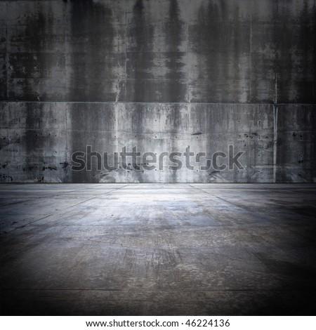Big Grungy Concrete Room - stock photo