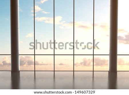 big hall airport and blue sky - stock photo