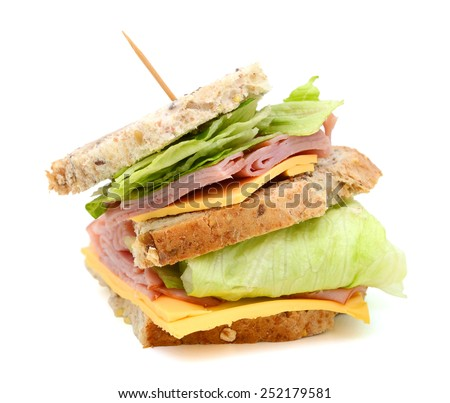 big ham sanwich with cheese, salad on white background