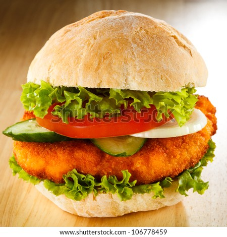 Big hamburger - stock photo