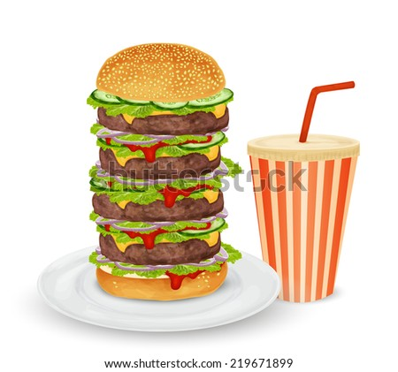 Big hamburger on plate and drink in paper can with straw isolated on white background  illustration
