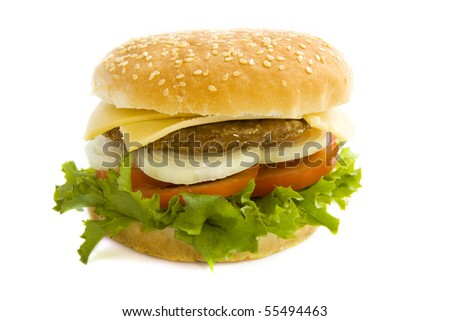 Big hamburger with salad isolated over white