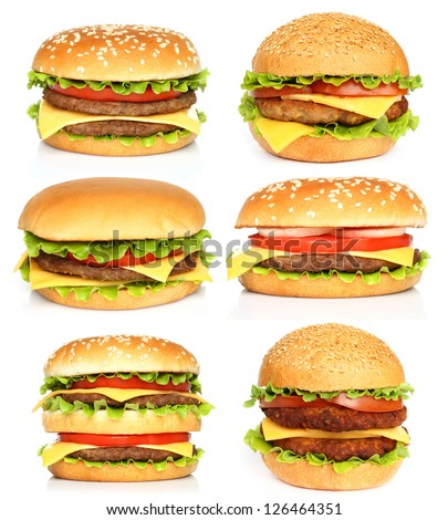 Big hamburgers on white background - stock photo