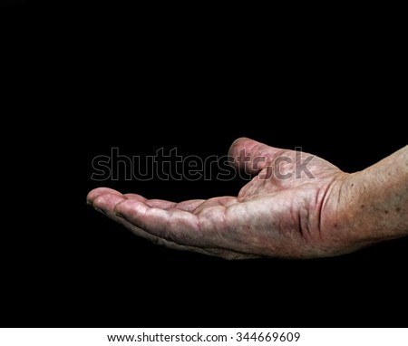 Big hand requesting over black background - stock photo