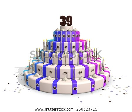 Big happy birthday cake with candles, confetti and on top a chocolate number 39 - stock photo