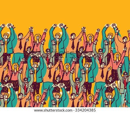 Big happy business team color people. Big group togetherness happy business people. Color illustration.  - stock photo