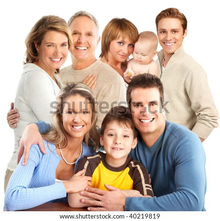 Big happy family.  Isolated over white background