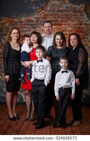 big happy family portrait - stock photo