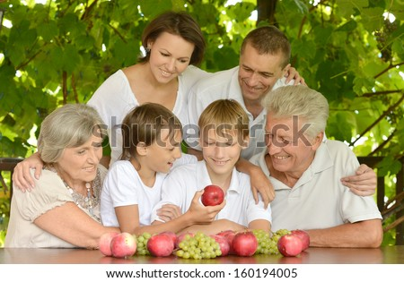 big happy family relaxing outdoors in summer - stock photo