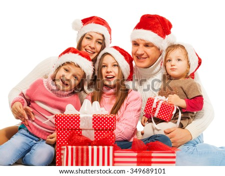 Big happy family with Christmas presents together - stock photo