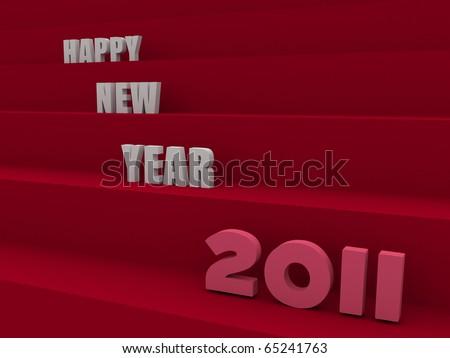 big happy new year written over dark red stairs - stock photo