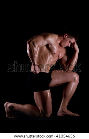 big, harebrained, strong , beautiful athlete - stock photo