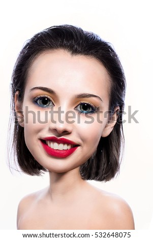 Big head smiling girl with make up