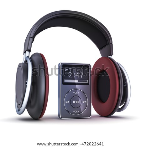 Big Headphone and audioplayer on white background  (done in 3d rendering)