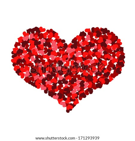 Big heart made up of little hearts. Isolated on white background - stock photo