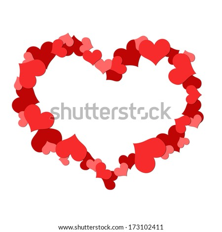 Big heart made up of little hearts. Isolated on white background