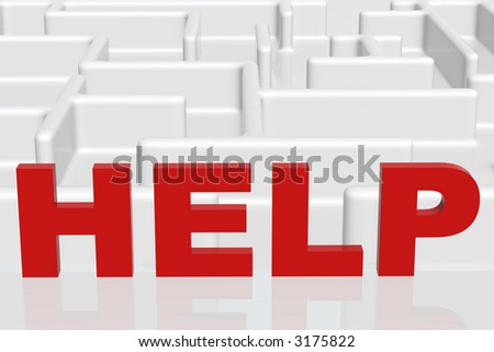 Big Help over a white maze - stock photo