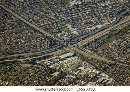 big highway interchange in los angeles, california