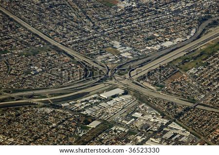 big highway interchange in los angeles, california - stock photo