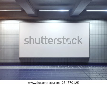 big horizontal poster on metro station - stock photo
