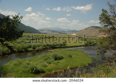 Big Horn River, Montana - stock photo