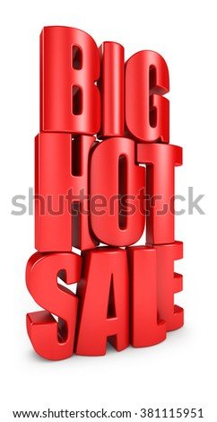 Big hot sale 3d text in red letters isolated over white background