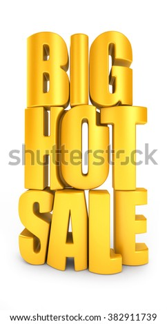 Big hot sale 3d text in yellow letters isolated over white background - stock photo