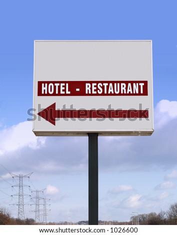 Big Hotel Restaurant billboard - stock photo