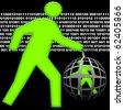 Big human total control little human inside digital global electronic cell - stock
