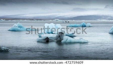 big iceberg floating in lagoon in Iceland